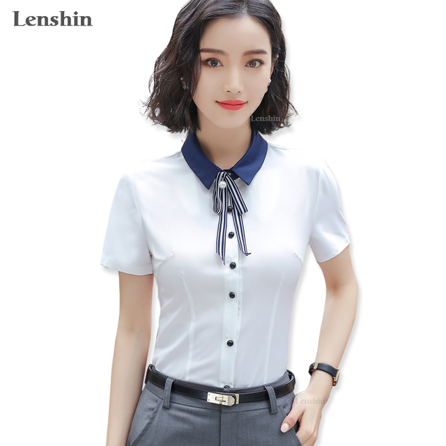 e2cbf093123e Lenshin contrast collar tie shirt white blouse with bow short sleeve women  summer wear top office