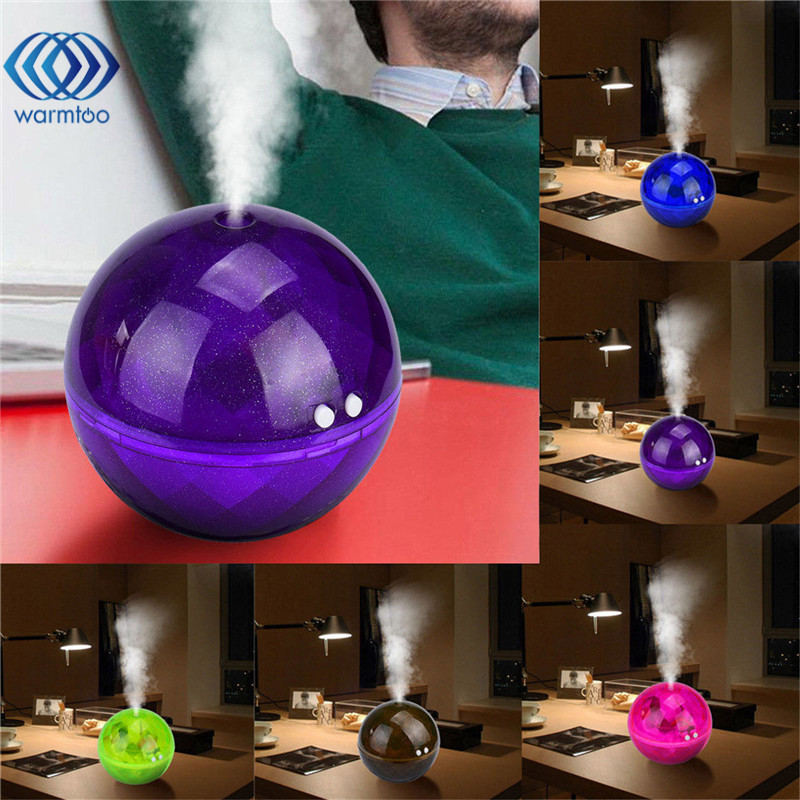 160ml USB Mini Air Aroma Essential Oil Diffuser LED Ultrasonic Aromatherapy Purifier Humidifier Colorful Crystal Ball Series crdc 100ml ultrasonic essential oil diffuser aroma portable air humidifier mini aromatherapy diffuser with colorful led light