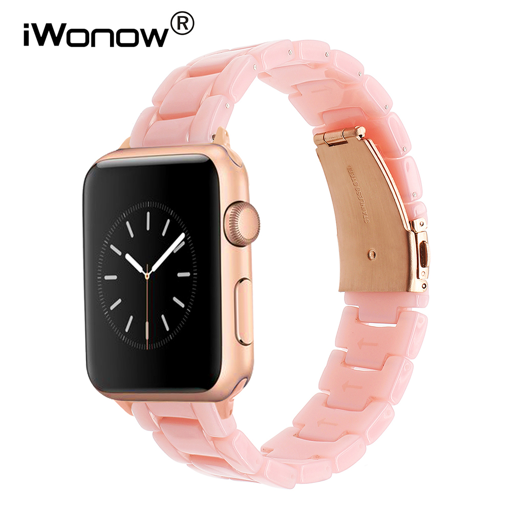 Women Resin Watchband for iWatch Apple Watch 38mm 40mm 42mm 44mm Series 4 3 2 1 Band Steel Clasp Strap Wrist Bracelet Correas