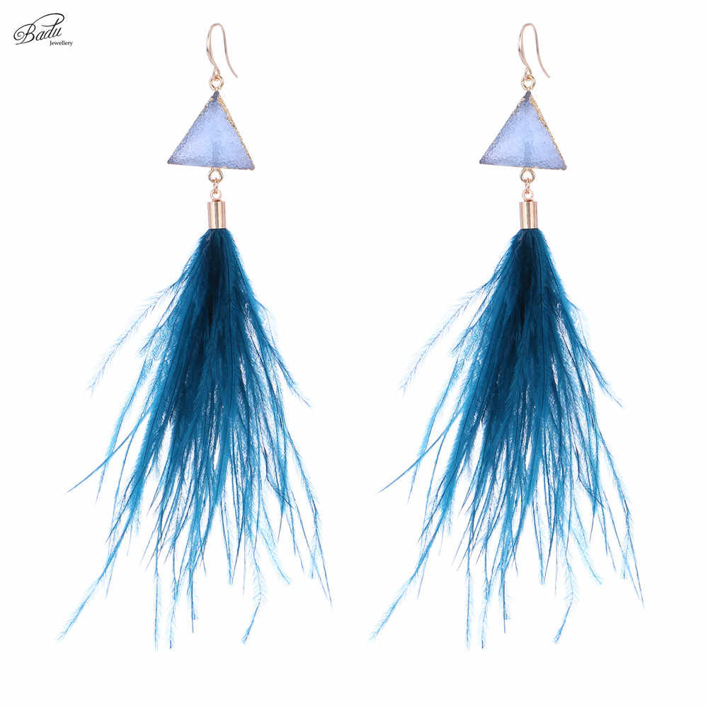 Badu Dangle Earring for Women Long Ostrich Feather Earrings Geometric Triangle Drop Bohemian Fashion 2018 Holiday Jewelry