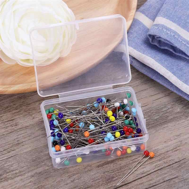 250pcs Glass Head Pins Multicolor Sewing Pin For DIY Sewing Crafts (4mm Head + 34mm Pin)