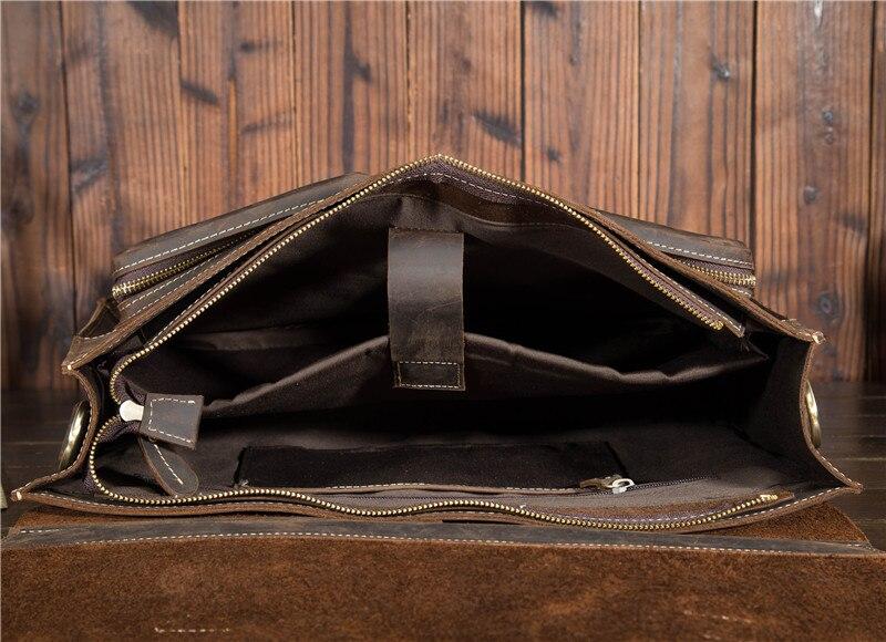 HTB17j4Nbh685uJjSZFHq6A49pXaS Top Grade Male Men's Vintage Real Crazy Horse Leather Briefcase Messenger Shoulder Portfolio Laptop Bag Case Office Handbag 1061