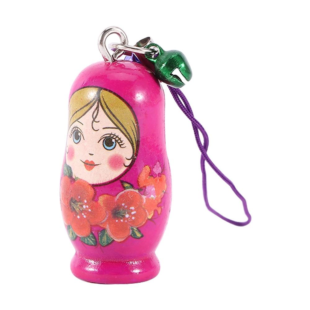 12pcs Wood Wooden Keychain Dolls Key Russian Dolls Key Rings Matryoshka Key