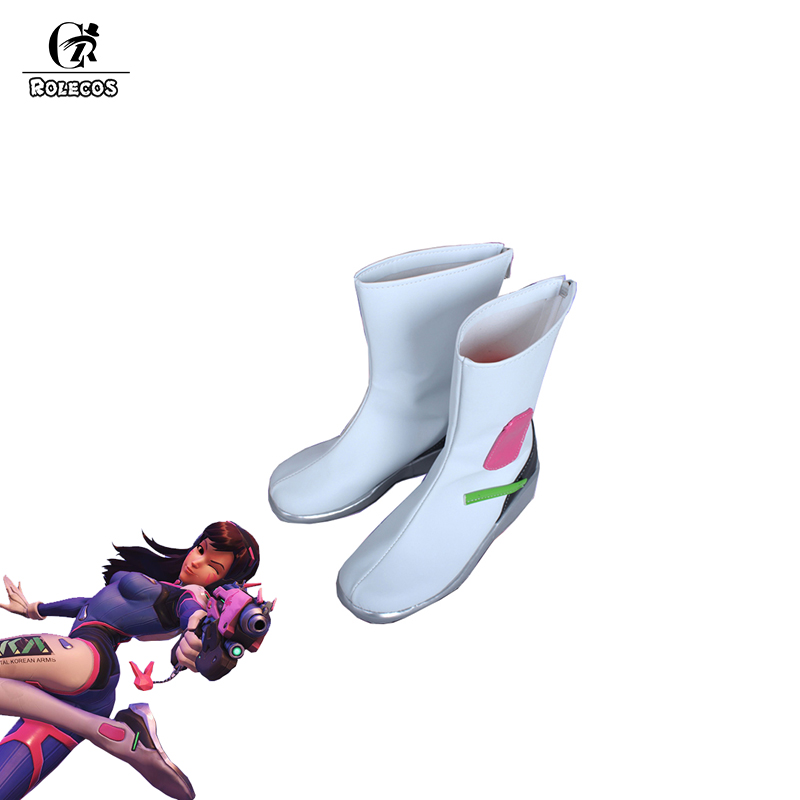 ROLECOS Game Watch Over Cosplay <font><b>Shoes</b></font> <font><b>D.VA</b></font> Cosplay Battle Suit White <font><b>Shoes</b></font> for Women Cosplay <font><b>Shoes</b></font> <font><b>D.VA</b></font> Customized Size <font><b>Shoes</b></font> image