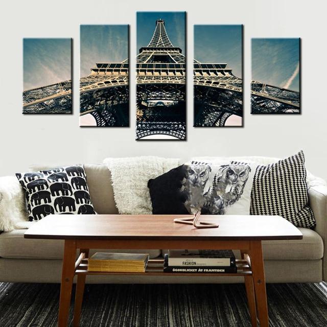 Quadri su tela Stampe Soggiorno Manifesto 5 Pannello Parigi Torre ...