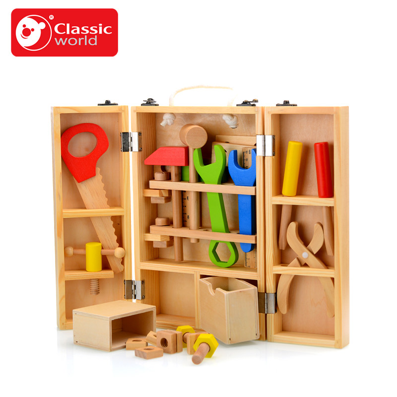 Artificial tool box set toy puzzle boy wooden tool toy sets hand crafted Brain Teaser gift for kids early Educational  learn