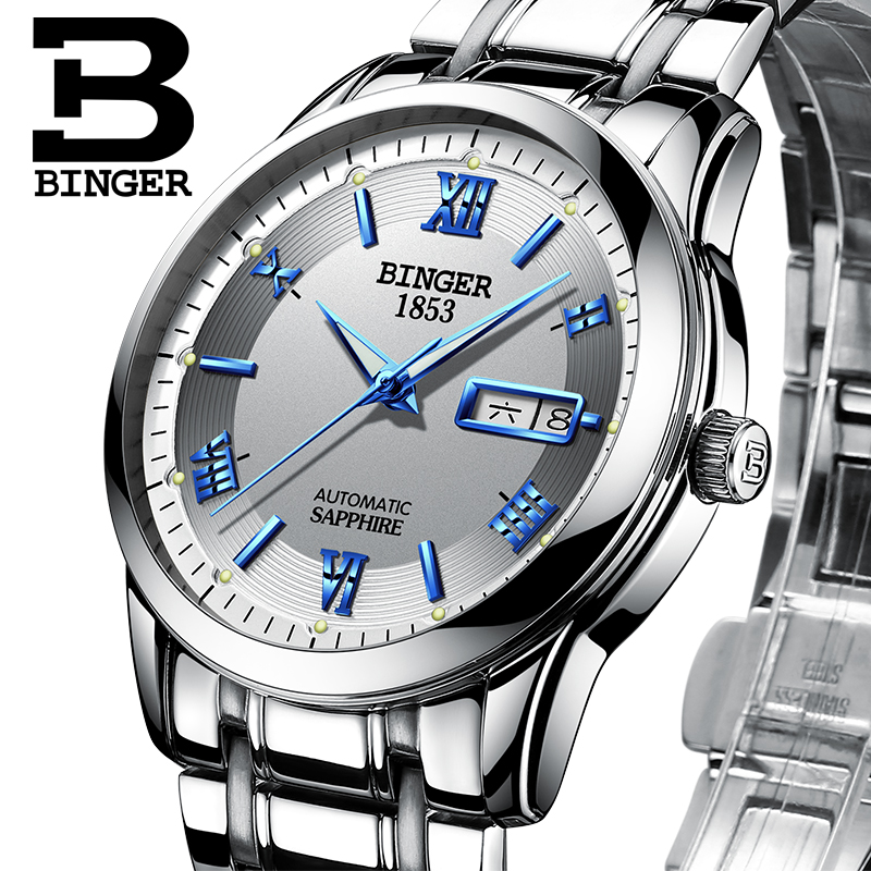 Switzerland watches men luxury brand Wristwatches BINGER luminous Automatic self-wind full stainless steel Waterproof BG-0383-11 switzerland watches men luxury brand wristwatches binger luminous automatic self wind full stainless steel waterproof b 107m 1