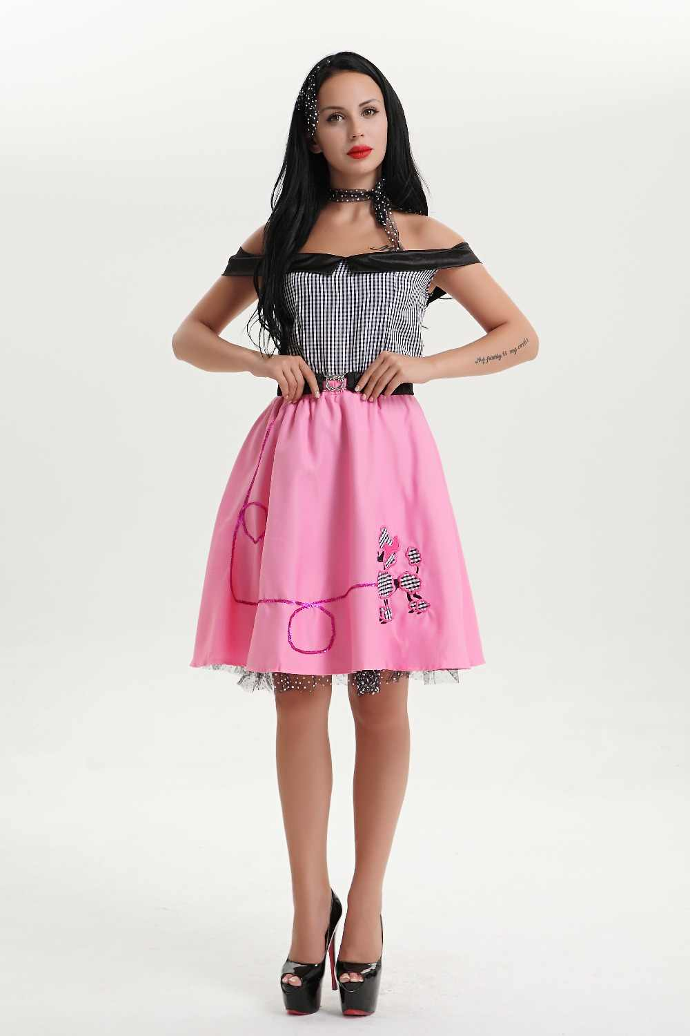 a842869199 Grease Pink Ladies Fancy Dress Plus Size