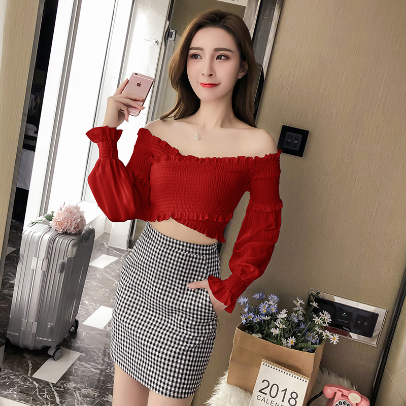 Summer New 2018 Women Sexy Off Shouler Blouses Shirts Female Fashion Elegant Ruffles Bandage Short Tops Woman Sweet Clothes
