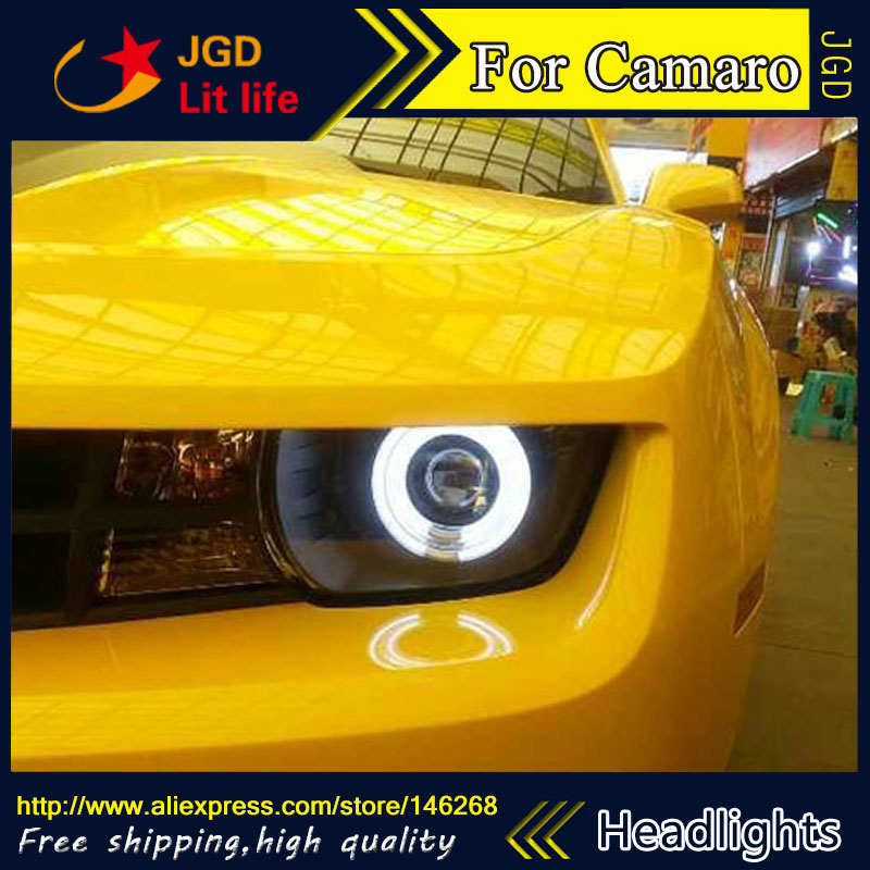 Free shipping ! Car styling LED HID Rio LED headlights Head Lamp case for Chevrolet Camaro Bi-Xenon Lens low beam  free shipping car styling led hid rio led headlights head lamp case for chevrolet camaro bi xenon lens low beam