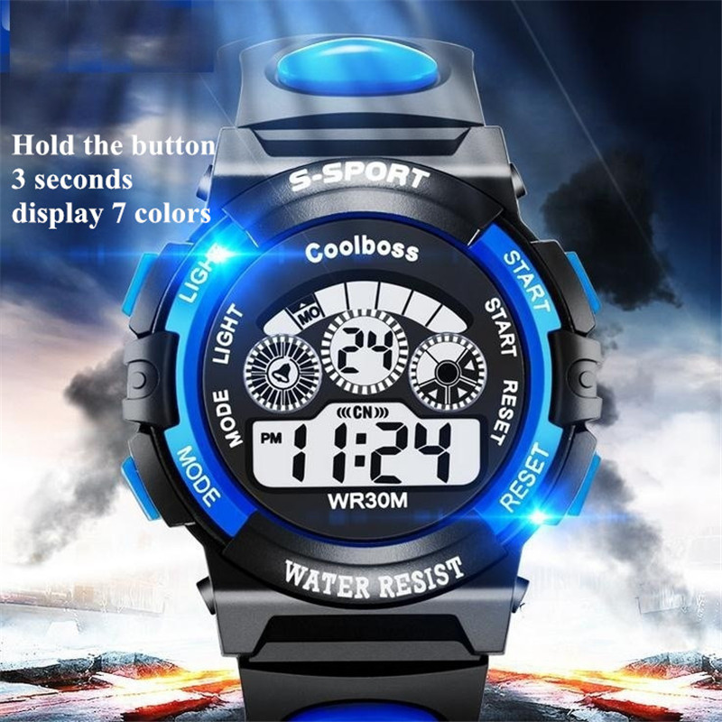 2019 Waterproof Children Watch Boy Digital LED Quartz Alarm Date Sports Wrist Sports Watch Casual Reloj Select Gift For Kid S7
