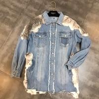 Fur Patchwork Women Denim Jacket High end Female Winter New Turn Down Collar Long Sleeve Pocket Denim Jean Jackets