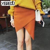 #1014 محبوك غير متناظرة تنورة مرونة عالية مكتب سيدة عالية الخصر تنورة النساء لربيع وصيف 2018 رخيصة faldas موهير