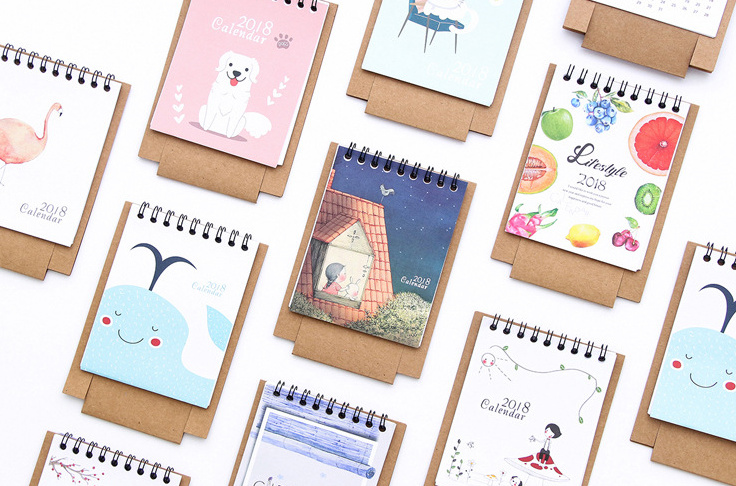 Diy Calendar For School : Cute fresh cartoon animals series table calendars