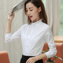 100% Cotton Shirt Women Long Sleeve Ruffled Button Solid Office Career Women Blouse Tops Casual Slim White Blusa Feminina Blusas