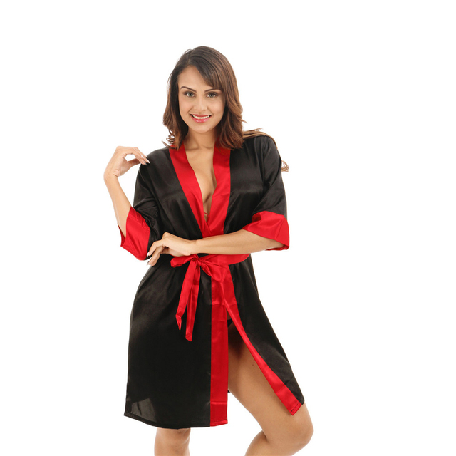 5223181d76 Sexy Black Women s Short Satin Robe Red Collar Bathrobe Kimono Yukata Gown  2017 Summer New Casual Nightgown S M L XL XXL D202-11