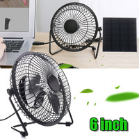 6 Inch USB Solar Panel Powered Iron Fan 5W Panel Outdoor Home Cooling Ventilation For Traveling