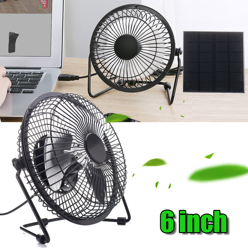 6 inch USB Solar Panel Powered Iron Fan 5W Panel Outdoor Home Cooling Ventilation For Traveling Fishing  Office usb powered 4 blade cooling fan white