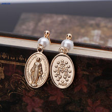 NTTHNCF Egyptian Avatar Coin Queen Head Charm Virgin Mary Pearl Dangle Earring For Women(China)