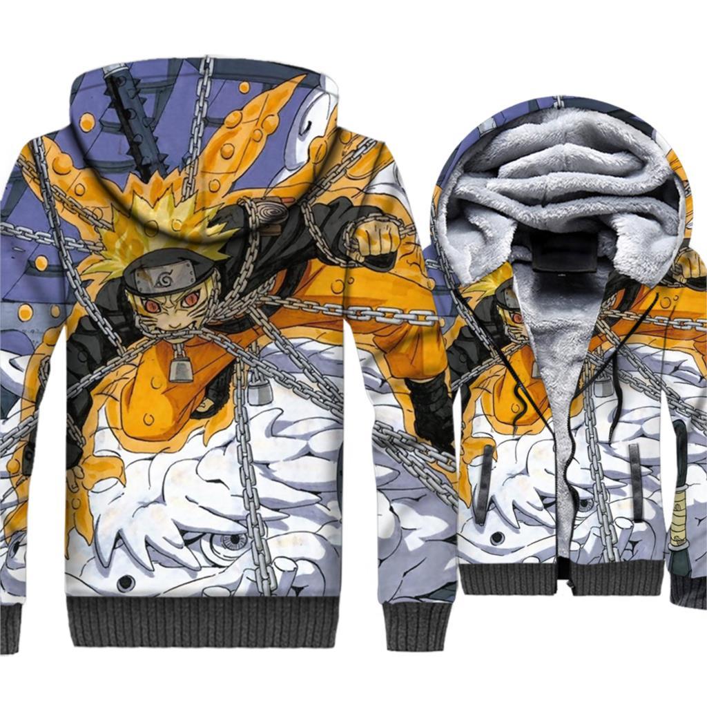 Naruto Uzumaki Sasuke 3D Hoodies Men Anime Harajuku Sweatshirts New Winter Thick Fleece Warm Hipster Cool Jackets Brand Clothing