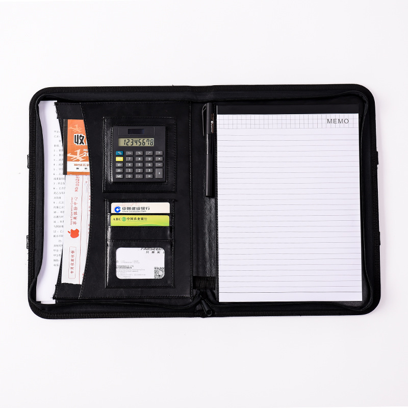 A4 Leather Padfolio Clipboard Multi-function Luxury Folder for Documents School Office Document Bag with Calculator HJW308 a4 5 cheap clipboard padfolio multi function filling products folder for documents school office supplies organizer portfolio