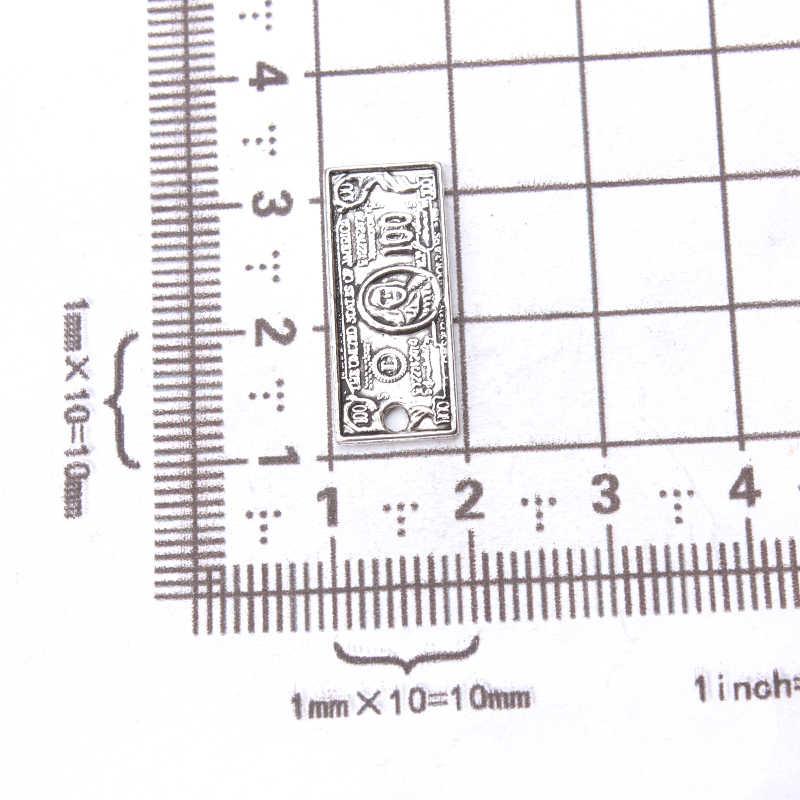 10 sztuk/partia pieniądze z 100 dolar Bill Charms Antique srebrny dokonywanie wisiorek Fit, Vintage tybetański srebrny, DIY bransoletka naszyjnik 21*9