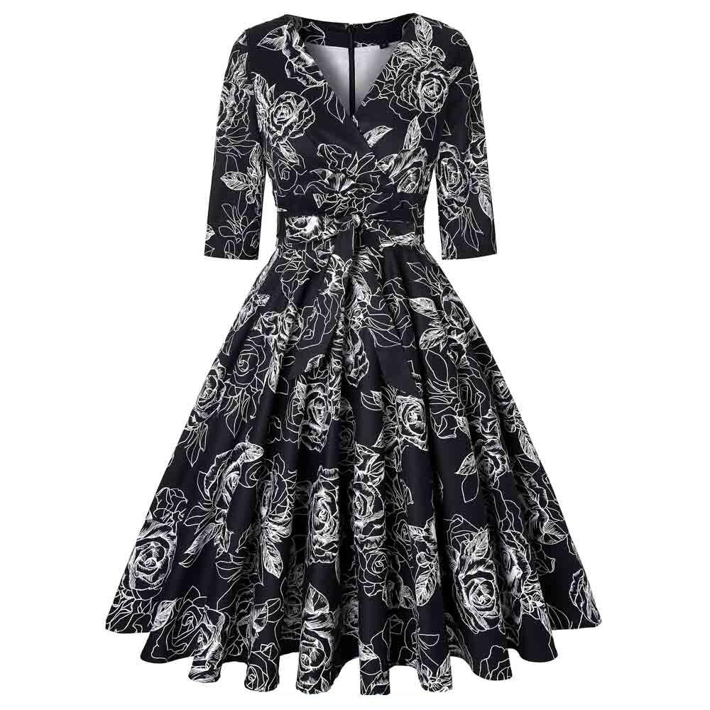 beb0bf0fa12 Vintage Women Party Dress Half Sleeve Floar Print 50s 60s Retro Sexy  Dresses Plus Size Big