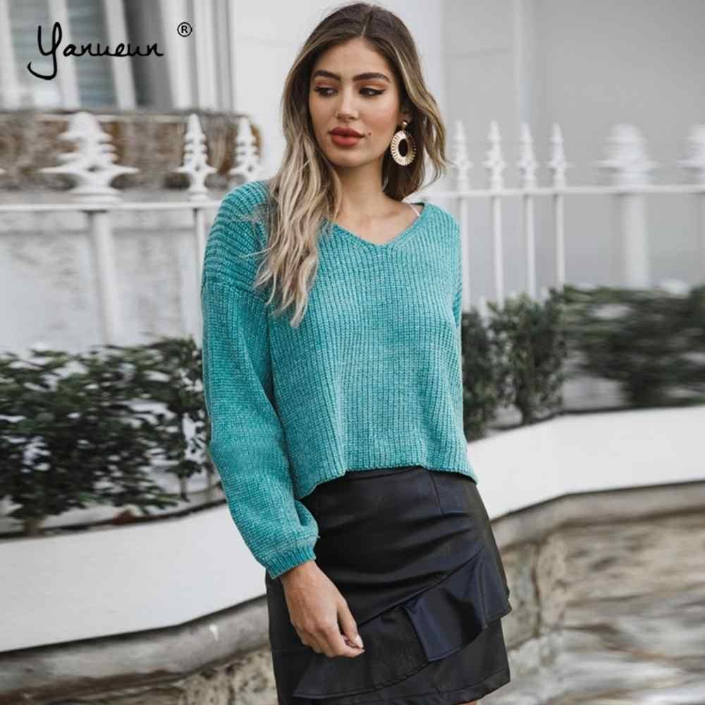 Sudaderas de chenilla con estilo Yanueun, jerséis de punto para primavera y otoño e invierno, jerséis lisos con cuello en V para mujer