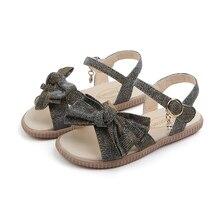 Girls Sandals 2019 New Summer Little Kids PU Leather Princess Shoes Children Bow Beach Shoes Baby Sandals Shining все цены