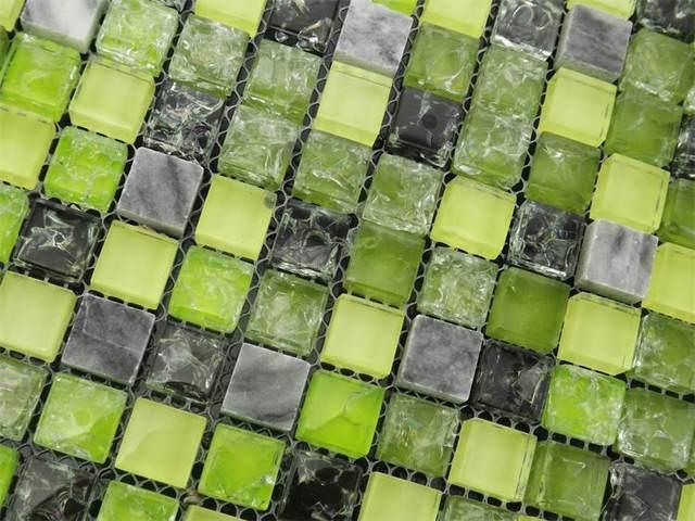 Tienda Online Vidrio de color verde gris mezclado piedra mosaico ...