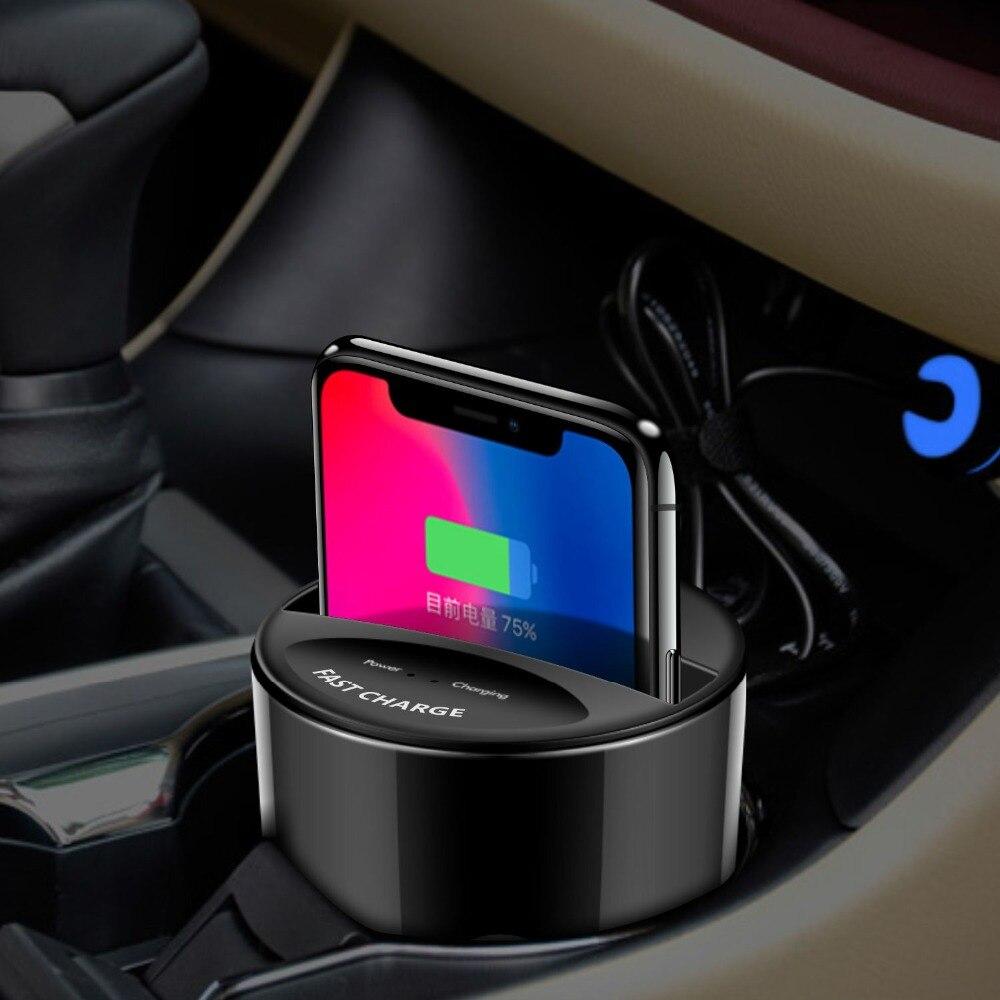 X9 voiture tasse Qi chargeur sans fil pour iPhone 8 X Xs XR Xs Max pour Samsung Note9 S9 pour Huawei pour Millet téléphone Mobile universel