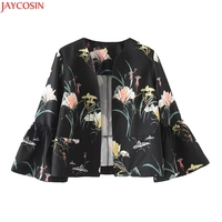 JAYCOSIN floral print vintage jacket women open stitch design flare sleeve coats casual brand outerwear tops ladies casaco 99#