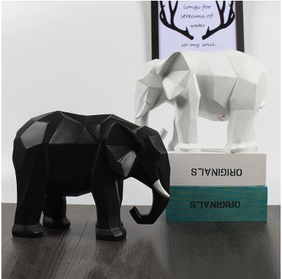 Europeo bianco e nero artigianato elefante, Nordic stile geometrico modello desktop di casa decorazioni, bei regali-in Statuine e miniature da Casa e giardino su  Gruppo 1