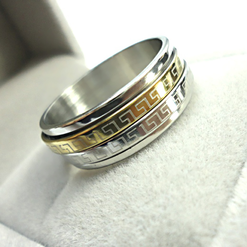 hot new fashion nice jewelry 3 color gold pretty rotation man woman stainless steel wedding ring - Nice Wedding Rings