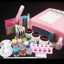 Burano New 36W UV Dryer Lamp Timer Block Sanding French Nail Art Tips Gel Tools DIY Kit 003# manicure set pink lamp