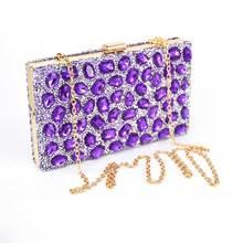 New Purple Luxury Handbag Lady Glass Diamond Flower Evening Bag Top Quality Wedding Party Bridal Clutch