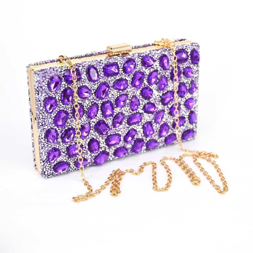 New Purple Luxury Handbag Lady Glass Diamond Flower Evening Bag Top Quality Wedding font b Party