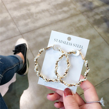 Luxurious pearl  Oversize Circle Hoop Earrings New Geometric Crystal Round Earring Brincos Party Jewelry Gift