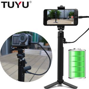 Ручная селфи-палка TUYU 2 в 1, аккумулятор 5200 мАч, для DJI OSMO Action GoPro Hero7 6 5 4 sj8, мобильный телефон, аксессуары
