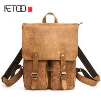AETOO New Leather Men Bag Fashion Casual Ultra Light Cowhide Backpack Large Capacity Portable Luggage Bag