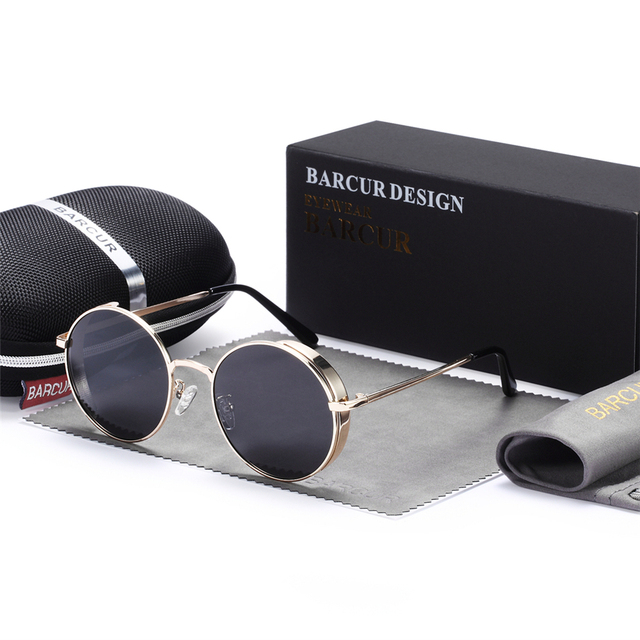 BARCUR Men's Alloy Vintage Round Sunglasses