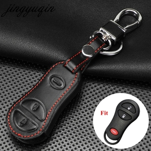 jingyuqin 3 Button Keyless Remote Key Case Leather Cover Fob For Chrysler Voyager Cruiser For Dodge Ram Dakota Jeep Cherokee(China)