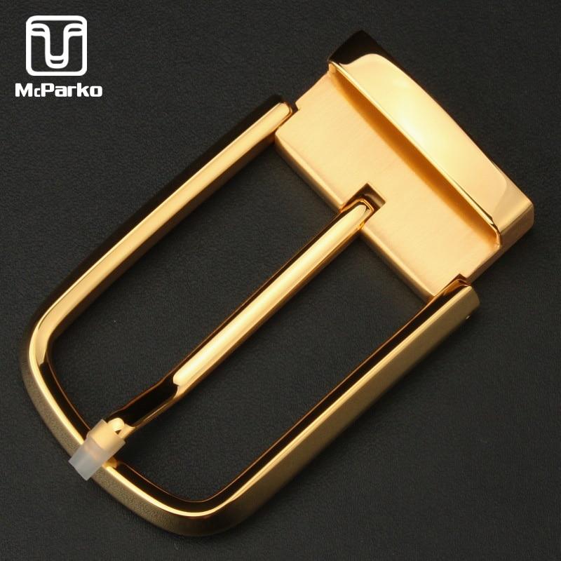 McParko Luxury Belt Buckle Stainless Steel Waist Belt Buckle Men Metal High Quality Suit Pants Pin Buckle 3.5cm Golden Silver