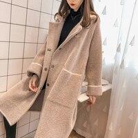 Long Faux Cashmere Coat Fashion Female Autumn Winter New Loose Sweater Cardigan Imitation Mink Coat Top Quality Windbreaker Lady