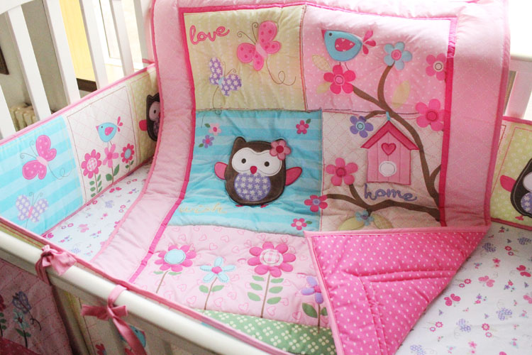 4 Pcs Lovely Lique Baby Bedding Crib Set Pink Embroidered Owls Bed Quilt Per Mattress Cover Bedskirt In Sets From Mother Kids On