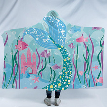 Mermaid Hooded Blanket For Home Travel Picnic Cartoon 3D Printed Portable Wearable Warm Throw Adults Childs