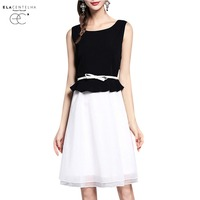 ElaCentelha Women Dress Brand Clothing Sleeveless Organza Patvhwork Dresses Ladies Cute A Line Summer Dress Plus