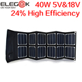 ELEGEEK 40W 5V/12V-18V Folding solar panel Portable USB DC Sunpower Panel High Efficiency Solar Panel Charger for Laptop & Phone
