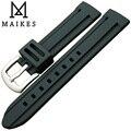 Maikes alta qualidade de borracha de silicone esporte pulseira 18 mm 20 mm 22 mm nova chegada 3D linha de faixa de relógio preto