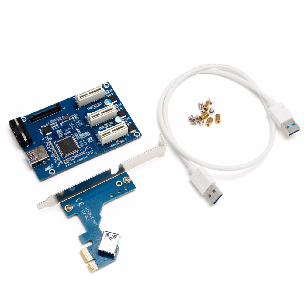 New PCI-e Express To 3 Port Mini 1X Multiplier HUB Riser Adapter Card w/2.4ft Cable -R179